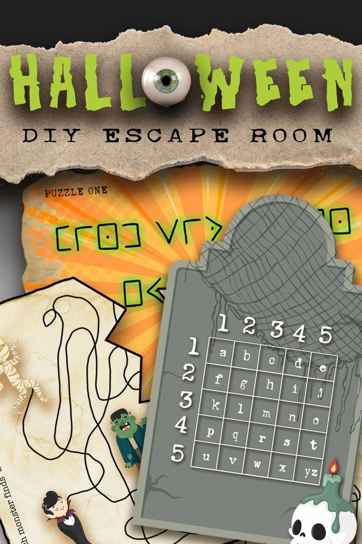 Halloween Escape Room Printable Kit For Kids Fun Halloween Etsy Fun Halloween Games Fun Halloween Party Games Halloween Activities For Kids