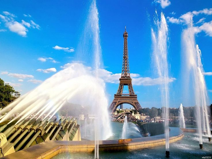 Eiffel Tower Fountains Paris France Blue Sky Art Huge Print Poster TXHOME D5662