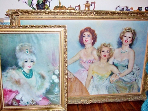 """""""Technicolor Tuesday"""": Inside Zsa Zsa Gabor's Bel Air mansion. On the left, a portrait of Zsa Zsa's mother, renowned high-end costume jewelry designer Jolie Gabor. On the right, the Gabor sisters: Magda (left), Eva (center), Zsa Zsa (right). Zsa Zsa, currently 96 and in very precarious health, is the last surviving Gabor."""