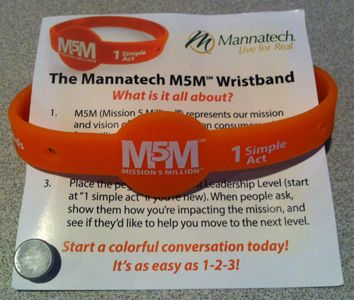 Show how many children you support by wearing an M5M wristband. These MPMs are available for sale (packs of five) AUD$10, NZD$11 and SGD$12.50.  The Mission 5 Million movement represents Mannatech's mission to link five million consumers of its glyconutrient, food-based nutritional supplements with five million children in need.  http://au.mannatech.com/real-passion/mission-5-million/