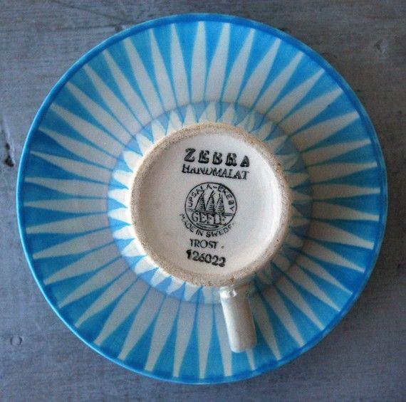Blue Upsala-Ekeby Gefle Zebra Cup von SwitchbladeandCookie auf Etsy