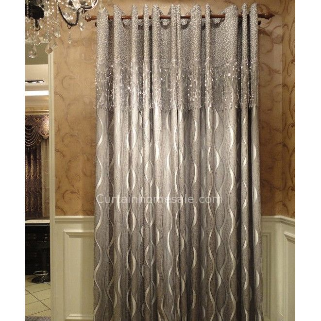 Designer Blackout Curtain With Geometric Patterned Silver Gray