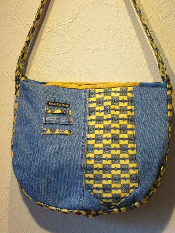 Items similar to Denim handbag with colourful ties on Etsy