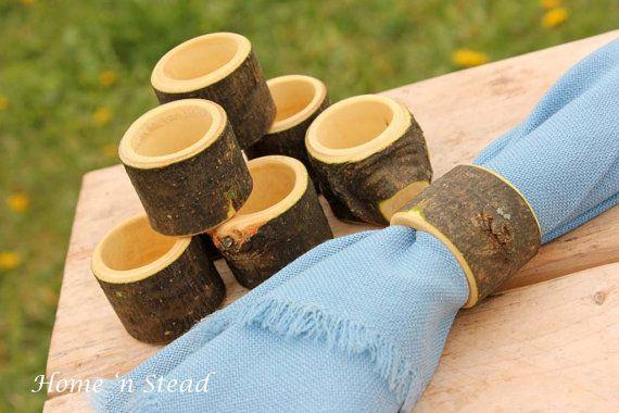 Eight Rustic Napkin Rings Holders Wedding Decor Log by HomenStead, $18.00