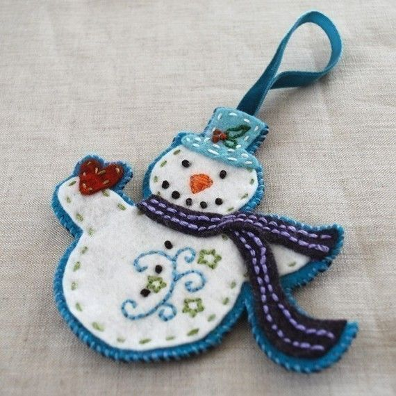 PDF Pattern Felt Embroidered Christmas Ornaments by ericahite