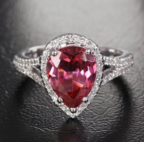 3.12ct Pink Tourmaline .32ct VS Diamond Solid 10K White Gold Pave Engagement Ring