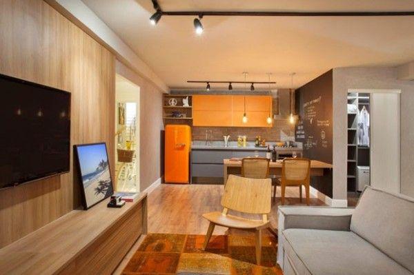 apartamento pequeno integrado. http://assimeugosto.com/projetos-de-arquitetura/apartamento-de-35m²-2/