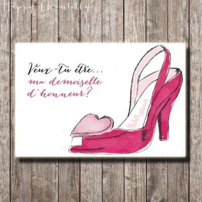 Carte Chaussures coeur: demande en témoin ou demoiselle d'honneur (ou sans texte)