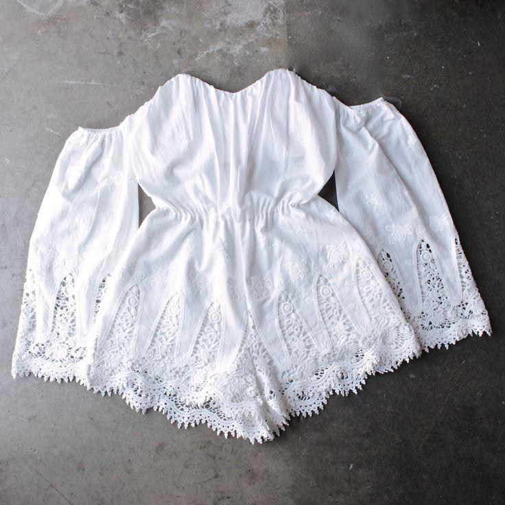 festival shop - boho strapless crochet off the shoulder cotton romper - shophearts - 1