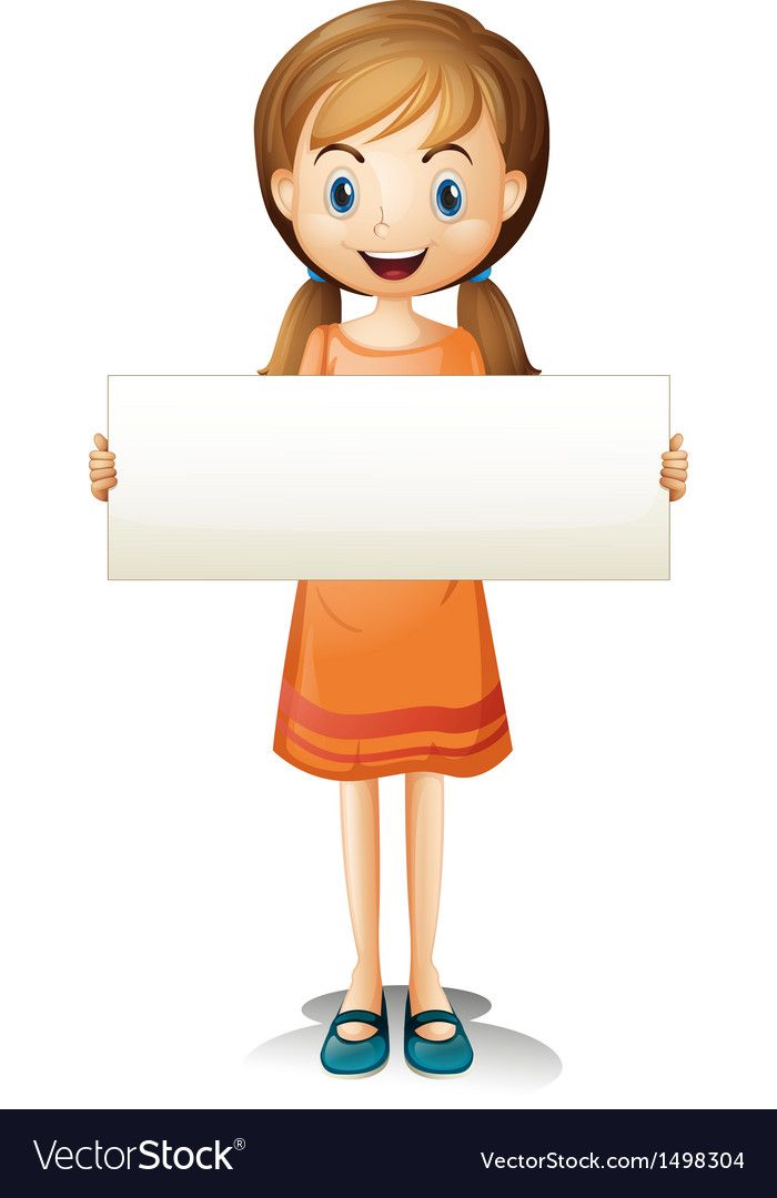 A Girl With An Orange Dress Holding An Empty Banner On A White Background Download A Free Preview Or High Quali School Wall Art School Cartoon Student Cartoon