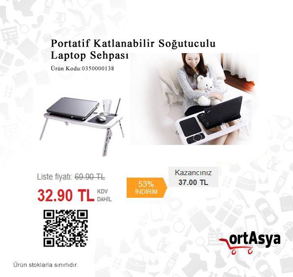 Portatif Katlanabilir Soğutuculu Laptop Sehpası, 69.90 TL yerine sadece 32.90 TL