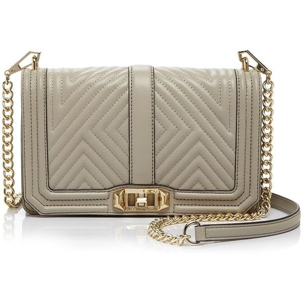 Rebecca Minkoff Geo Quilted Love Crossbody (5,650 MXN) ❤ liked on Polyvore featuring bags, handbags, shoulder bags, khaki, brown cross body purse, brown crossbody, brown handbags, crossbody handbag and chevron crossbody purse