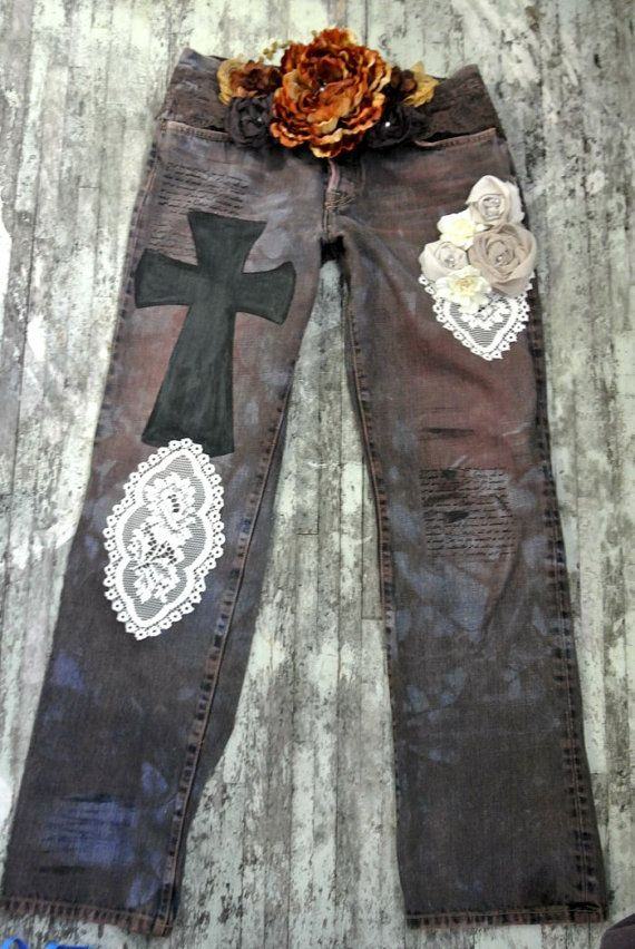 Womens distressed vintage jeans country chic by TrueRebelClothing, $84.00