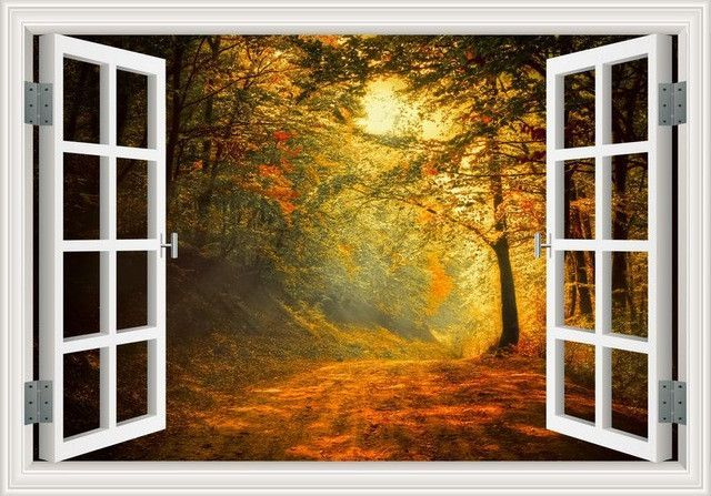 Amazing Forest Tree 3D Wall Sticker Removable Window View Landscape Wallpaper Home Decor