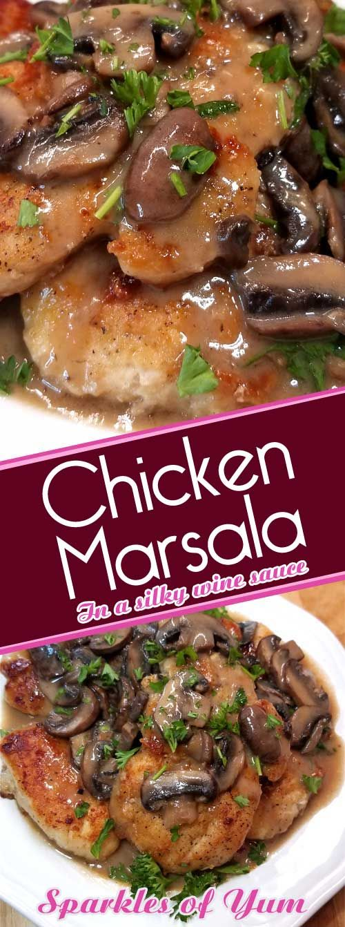 Chicken Marsala is oh so easy and delicious, complete with a silky rich wine sauce that you do not need chef skills to prepare. It's no wonder that it is a family favorite. #chickenrecipe #datenight #budgetcooking #fancyfrugal via @sparklesofyum