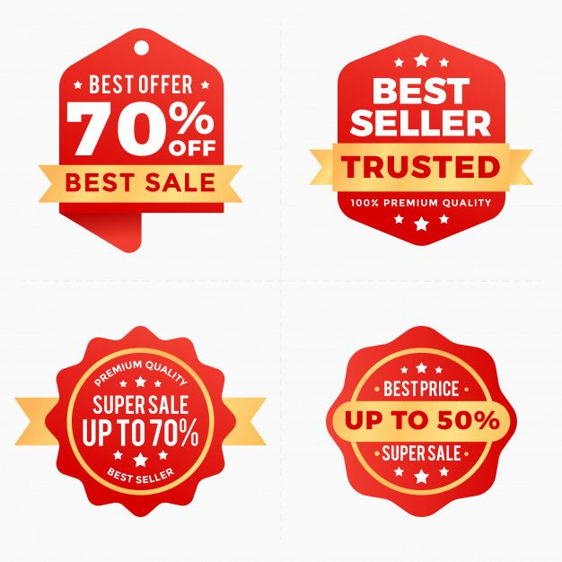 Sale Discount Labels Red Banner Tag Collection Discount Labels Labels Vector Business Card