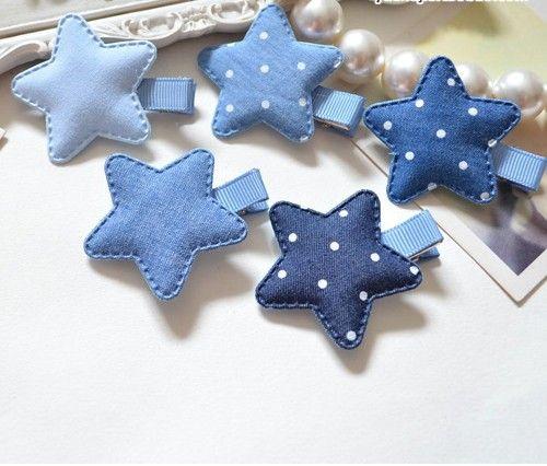 Baby Denim Fabric Cloth Stars/Rhinestone Crown Clip Hairpin Side Clip Children Headdress Hair Accessories Birthday Party Gifts