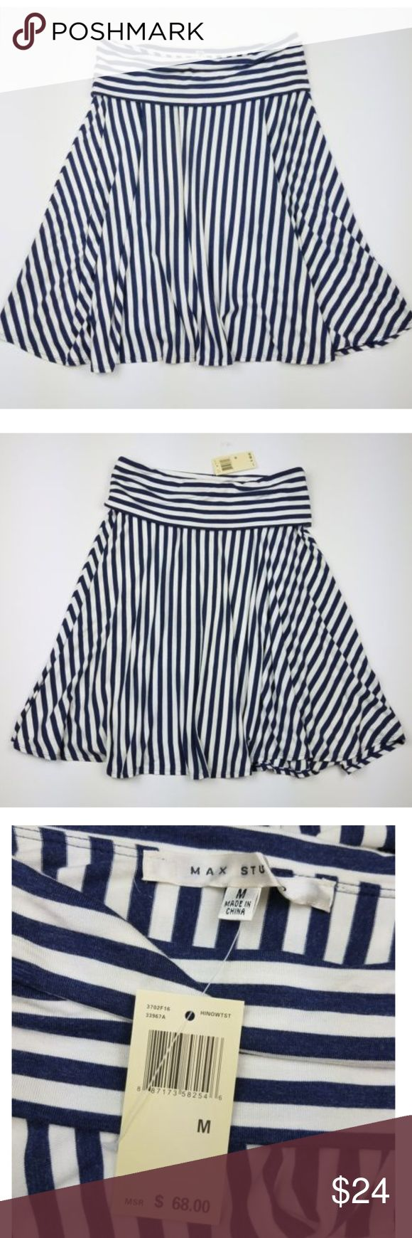 MAX STUDIO Skirt Jersey A-Line Navy Blue Medium New with tags.  Measurements taken with item lying flat in inches Waist: 13.5 Length: 20.5 Material: 95% rayon 5% spandex Style Number: 3702F16  P27-G218 Max Studio Skirts Midi