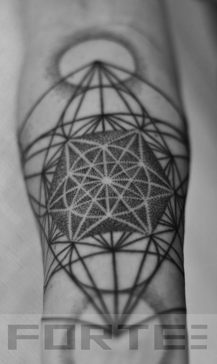 Sacred geometry tattoo vector equilibrium metatrons cube.