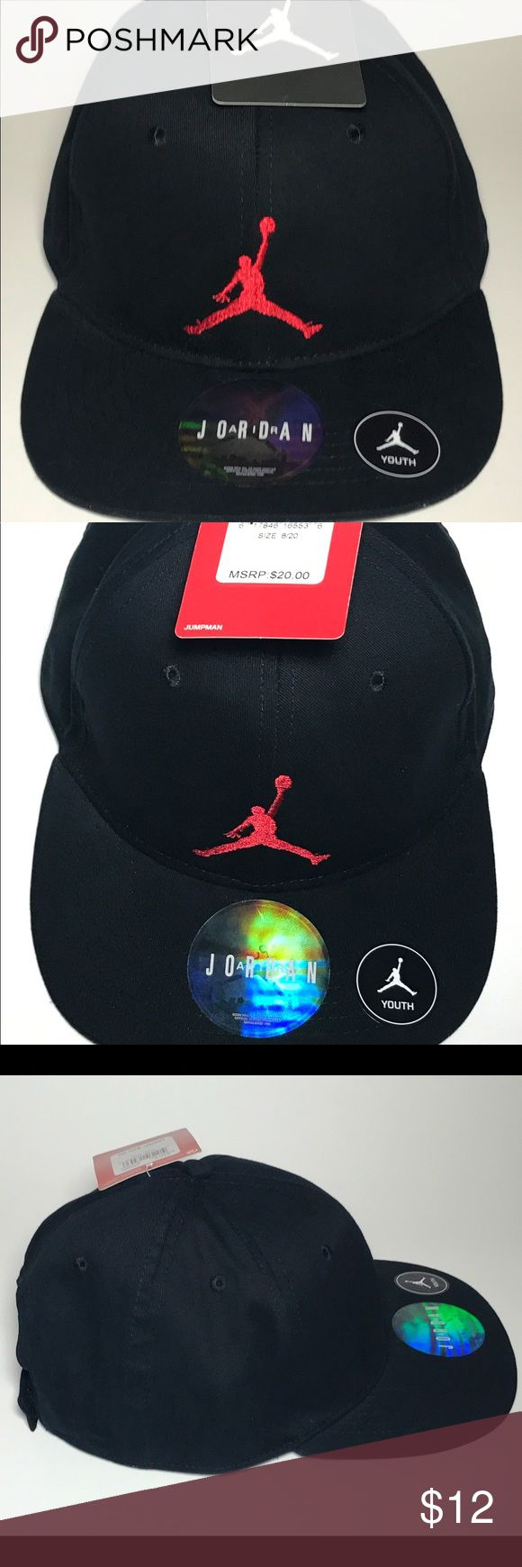 Nike Air Jordan Youth Adjustable Hat Black/Red The hat is brand new with tags. Never worn. Great for summer! Jordan Accessories Hats