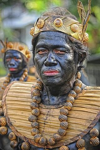 Man painted black at Ati Atihan festival, Kalibo, Aklan, Panay Island, Visayas, Philippines