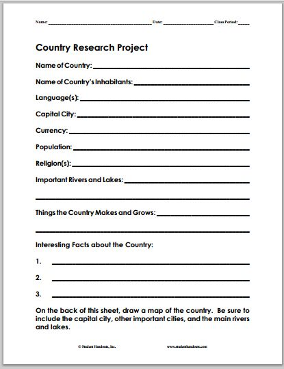 Country Research Project Fact Sheet | Student Handouts