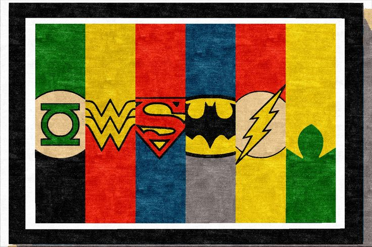 Super Hero's Rug.  Can be made in any custom size for a child's bedroom.
