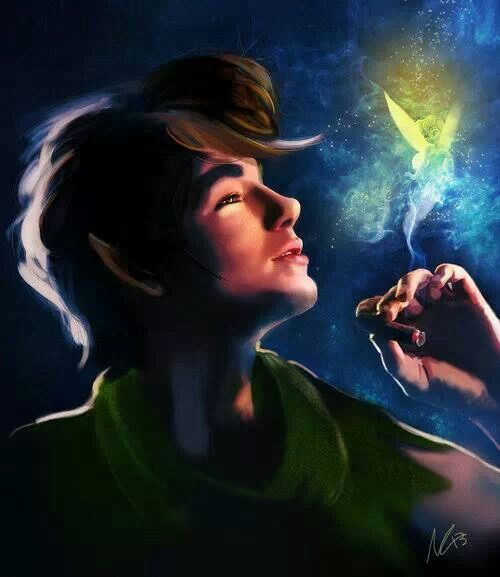 Peter pan and tinkerbell Disney fan art (looks sorta like Andrew Garfield...)  #ldisneyart #disney
