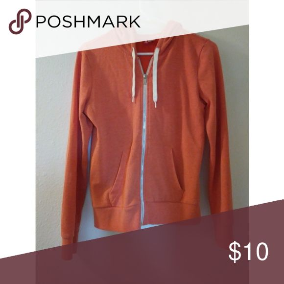 Coral hoodie EUC. Beautiful coral-orange zip up hoodie sweatshirt. Perfect for layering in Fall/Winter & light enough for Spring/Summer. H&M Tops Sweatshirts & Hoodies