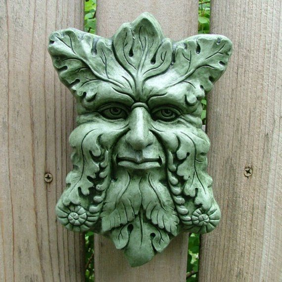 Concrete Greenman Plaque Moss Garden Sculpture By Mygardengoddess