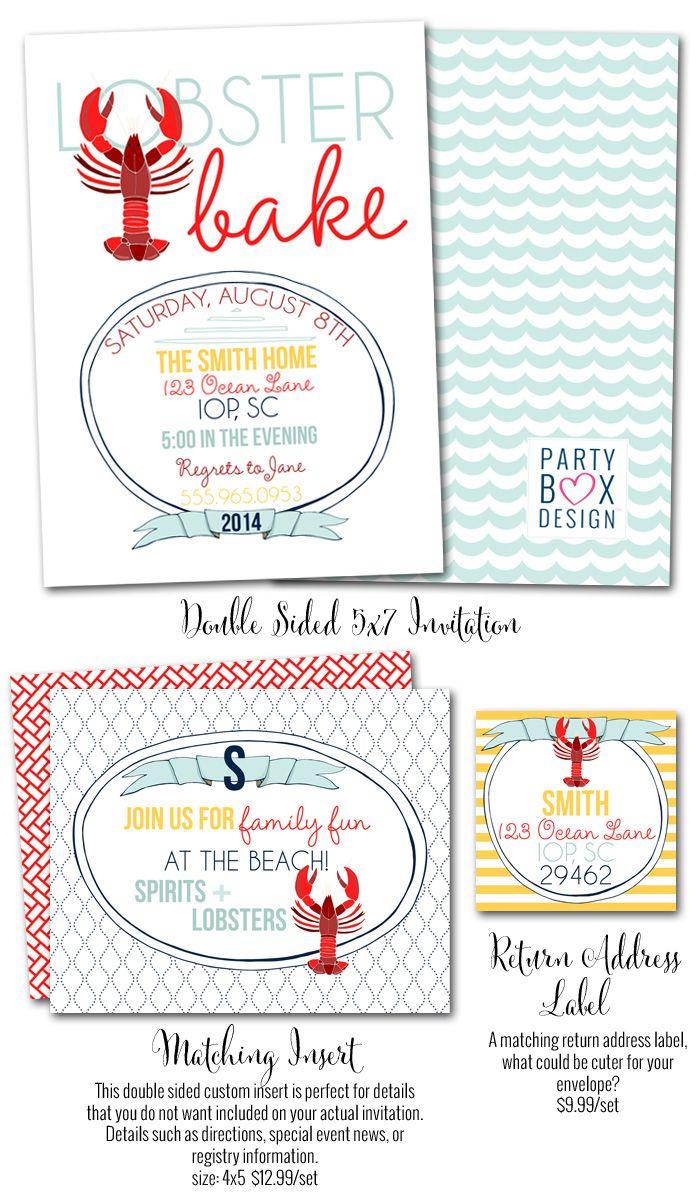 Lobster Bake-Lobster Bake invitations, lobster bake parties, lobster theme parties, nautical parties