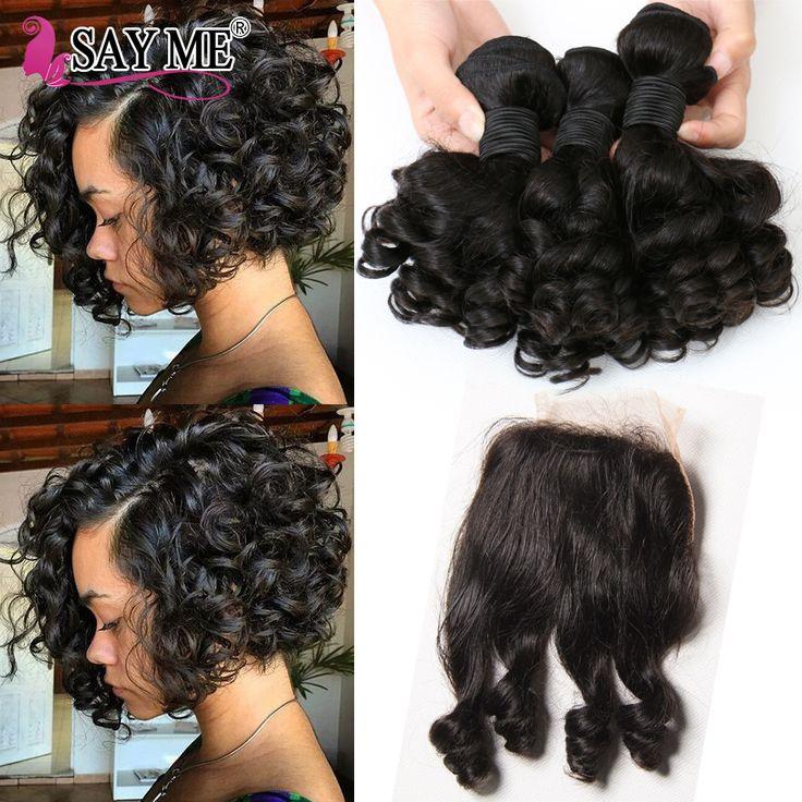 Indian Virgin Hair Loose Wave Bundles With Closure Short Bob Weave Curly Hair 3 Bundles With Lace Closure Aunty Fumi Bouncy 1B#