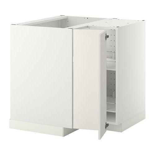 METOD Narożna szafka stojąca z karuzelą - biały, Veddinge biały  - IKEA