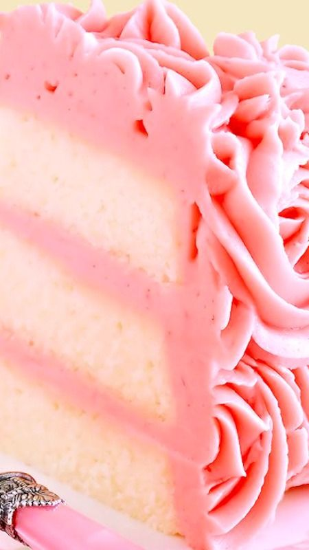 White Velvet Layer Cake with Strawberry-Raspberry Mascarpone Buttercream  ~ Moist, tender white cake flavored with pure almond extract and a hint of vanilla. It is iced with a truly extraordinary frosting that tastes just like strawberry-raspberry cheesecake!