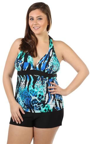 plus size blue animal print tankini top