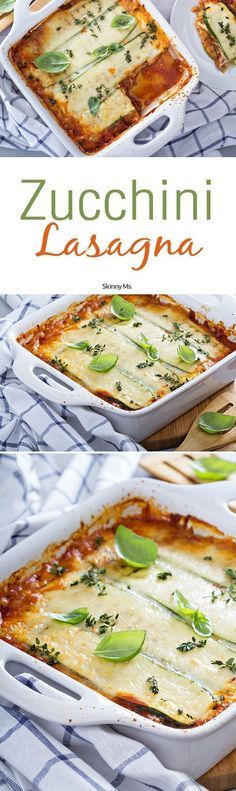 Our Zucchini Lasagna is a perfect veggie lasagna that demonstrates just how healthy you can make dinner when you get creative with veggie substitutions. #zucchinilasagna #lasagnarecipes