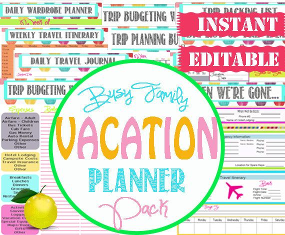 Organize family trips and vacations easily with Editable Vacation Planner Pack! Organized Travel Printables - INSTANT DOWNLOAD -14 Documents via Etsy