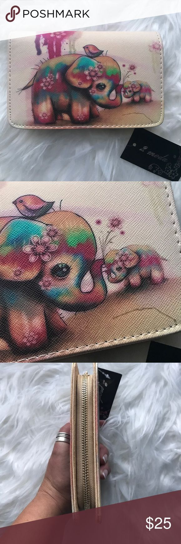 NWT 2 Moda elephant and baby watercolor wallet SO cute! 2 Moda watercolor wallet. Momma and baby elephant. Wallet clutch style. Synthetic materials. 2 Moda Bags Clutches & Wristlets