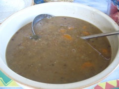 Lentil soup - (Fakes)...just a little note.add a diced potato and olive oil and carrots to this soup...i make this all the time