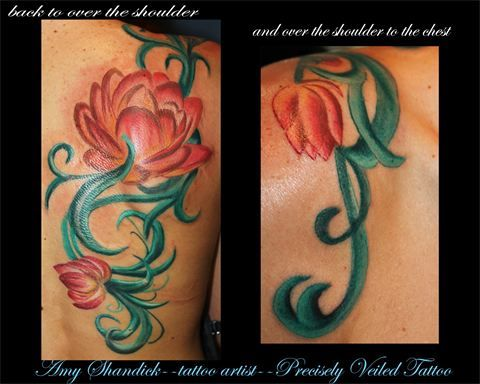 pretty flowers lily tattoo tattoos pink green vines back chest  www.facebook.com/preciselyveiledtattoos www.preciselyveiledtattoo.com #tattoo #tattoos #flower #flowers #vines