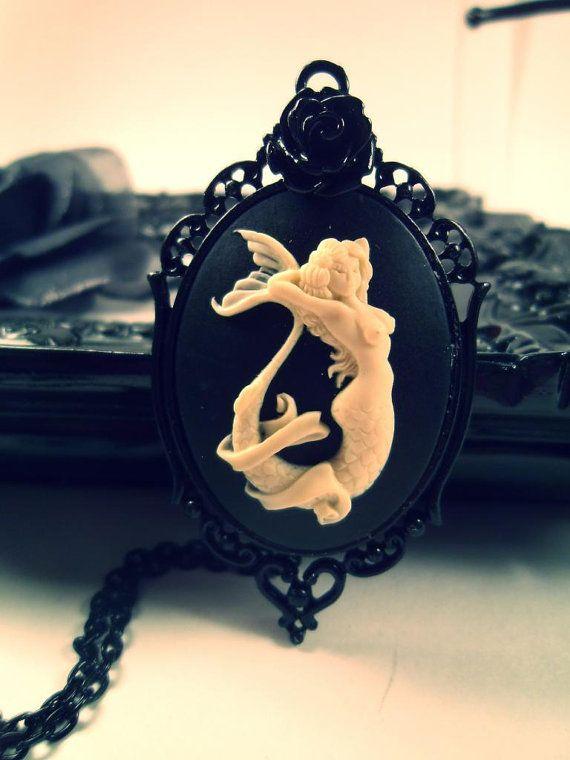 Mermaid Gothic Cameo Necklace / Rockabilly by FatallyYoursJewelry, $20.00