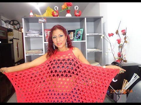 PONCHO EN FORMA DE BLUSA TEJIDA A CROCHET PASO A PASO - YouTube