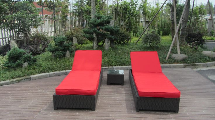 Tao Lounge Chairs! Enjoy the outdoors with this comfortable Lounge Chairs. In our Jockey Red and Sunbrella Fabric. Also comes with 1 side table.