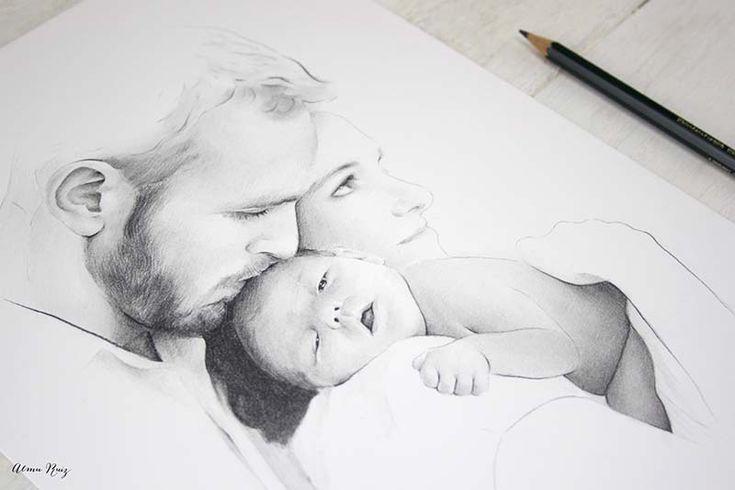 Retrato de familia dibujado a lápiz de Almu Ruiz. Family portrait drawn in pencil