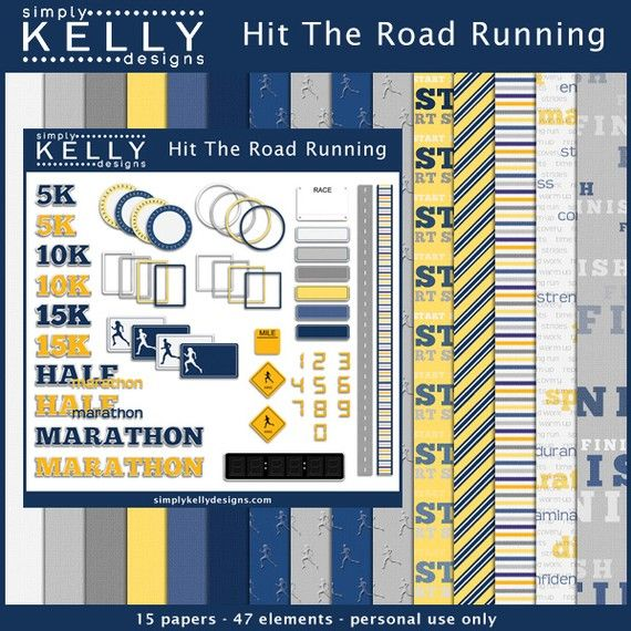 Hit The Road Running  Digital Scrapbook Kit by SimplyKellyDesigns, $4.99