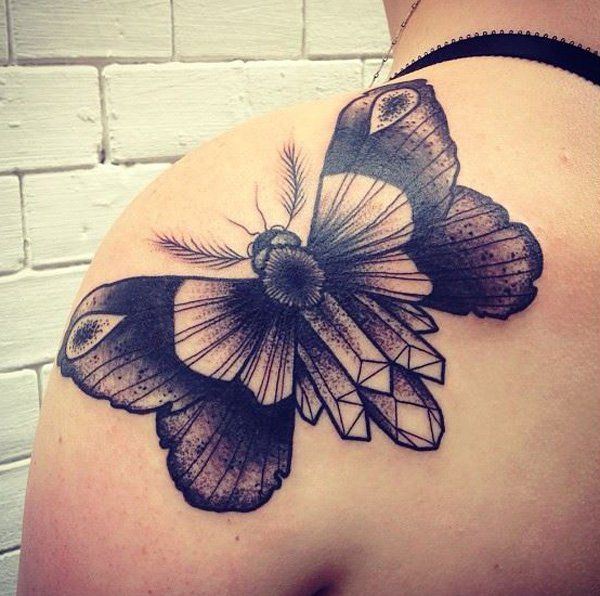 Barbe Rousse moth shoulder tattoo - 55 Awesome Shoulder Tattoos   Art and Design
