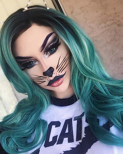 Pretty and Easy Cat Halloween Makeup Look