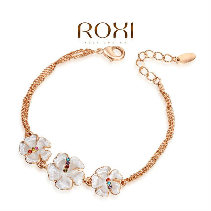 Roxi gloednieuwe vintage drie bloem 18k vergulde armband met echte Oostenrijkse kristallen