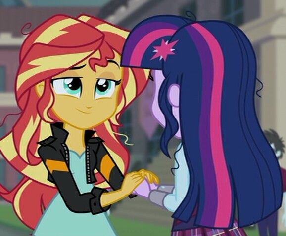 Sunset Shimmer and Twilight Sparkle in Equestria Girls: Friendship Games