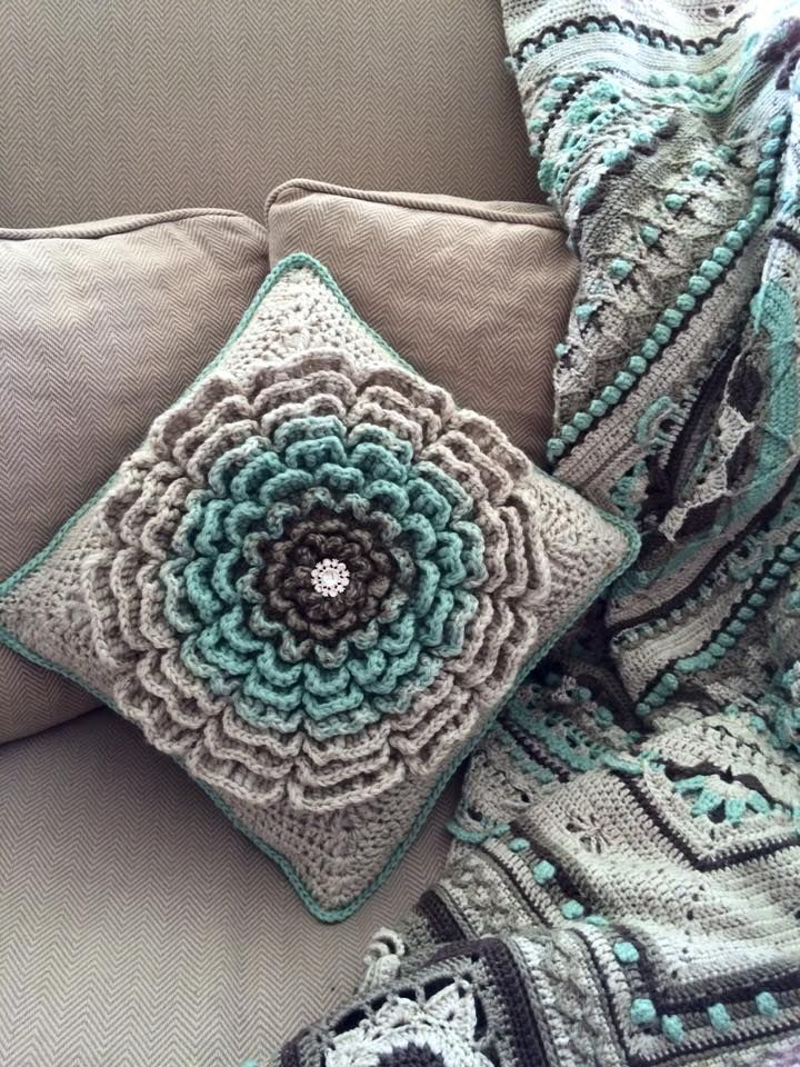 Love these colors! Sophie afghan and Never Ending Flower pattern.